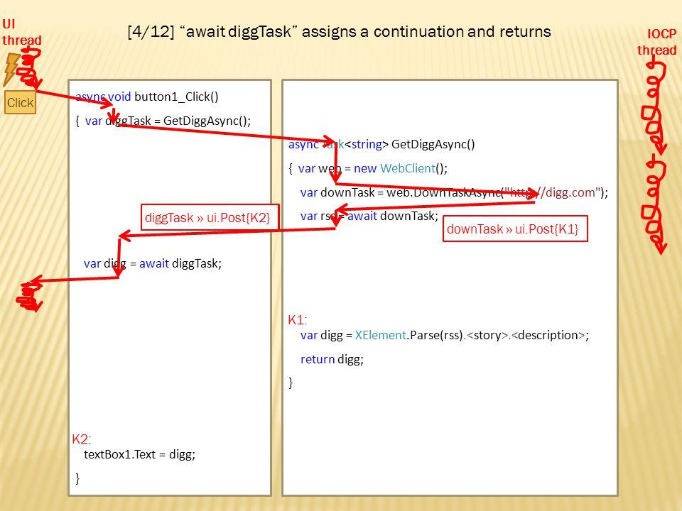 async void button1_Click() { var diggTask = GetDiggAsync(); var digg = await diggTask; textBox1.Text = digg; } diggTask async Task GetDiggAsync() { var web = new WebClient(); var downTask = web.DownTaskAsync( http://digg.com ); var rss = await downTask; var digg = XElement.Parse(rss)..