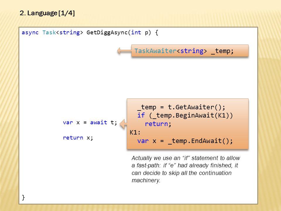 async Task GetDiggAsync(int p) { var x = await t; return x; } 2.