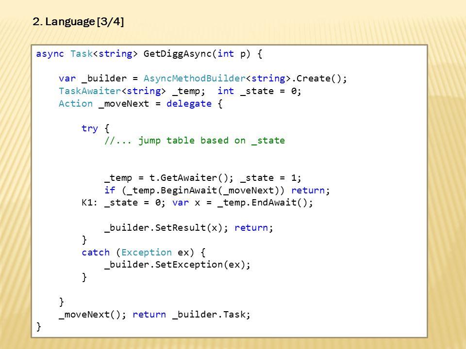 async Task GetDiggAsync(int p) { var _builder = AsyncMethodBuilder.Create(); TaskAwaiter _temp; int _state = 0; Action _moveNext = delegate { try { //...