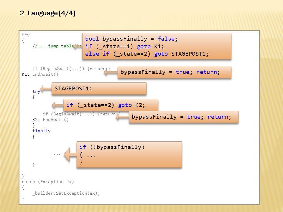 2. Language [4/4] try { //...