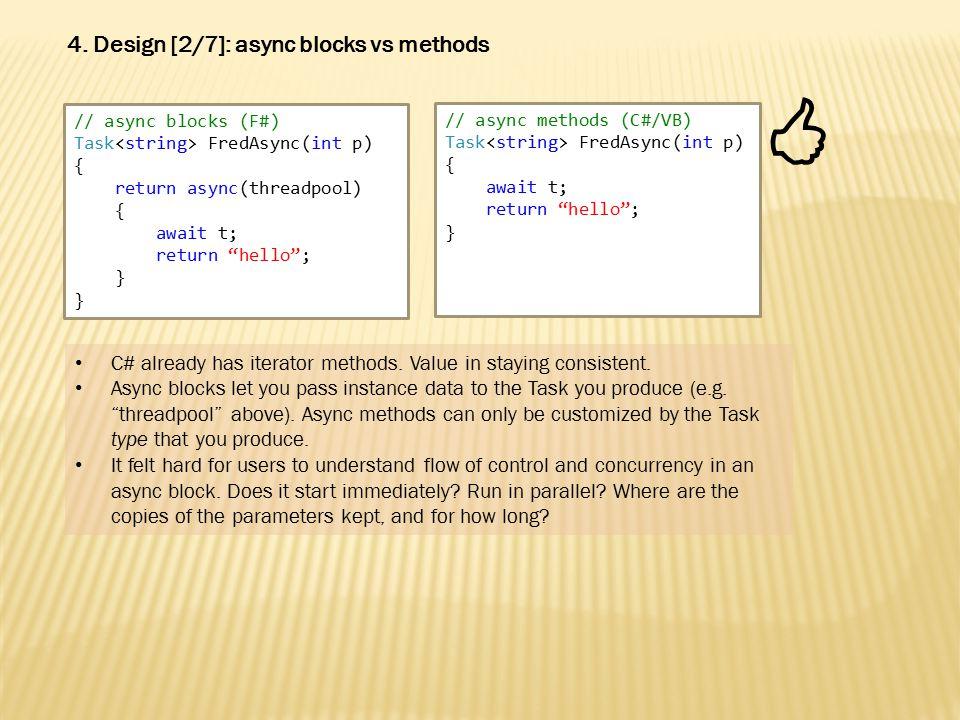 // async methods (C#/VB) Task FredAsync(int p) { await t; return hello ; } 4.