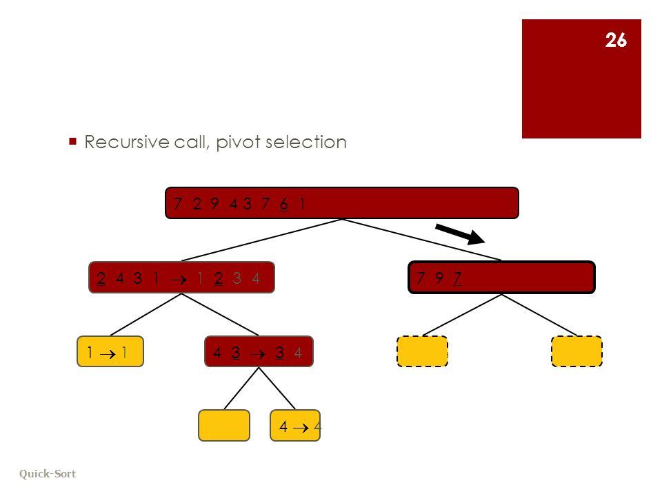 Quick-Sort 26  Recursive call, pivot selection 7 9 7 1  1 3 8 6 8  8 7 2 9 4 3 7 6 1  1 2 3 4 6 7 8 9 2 4 3 1  1 2 3 4 1  11  14 3  3 4 9  94  44  4
