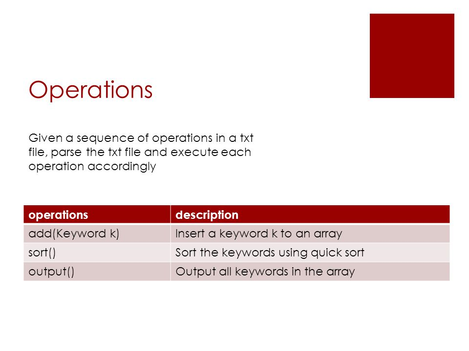 Operations operationsdescription add(Keyword k)Insert a keyword k to an array sort()Sort the keywords using quick sort output()Output all keywords in the array Given a sequence of operations in a txt file, parse the txt file and execute each operation accordingly