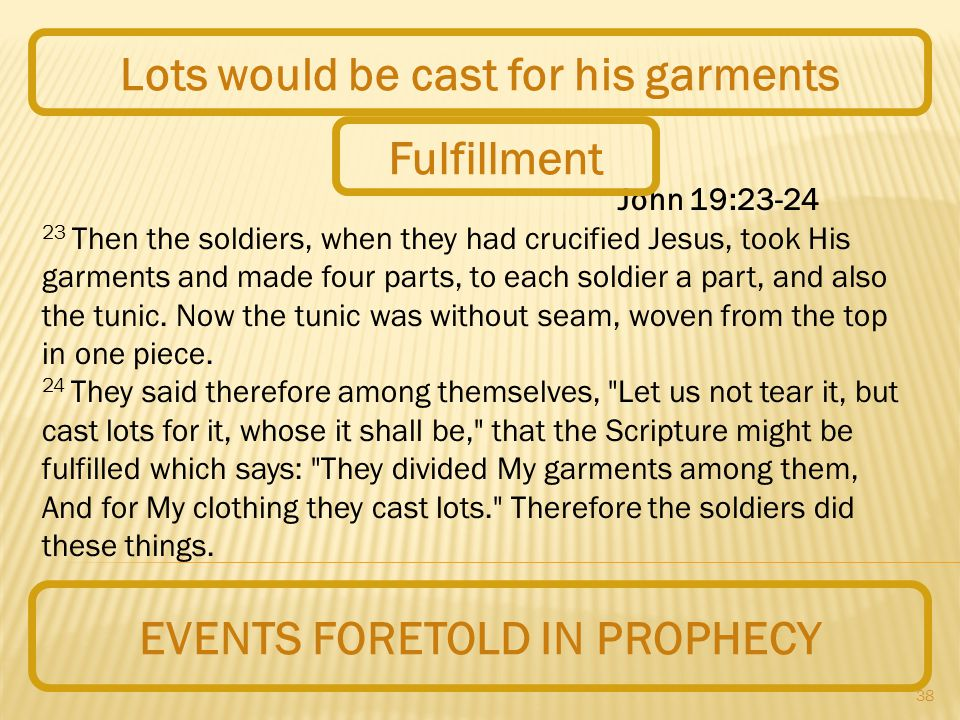 38 EVENTS FORETOLD IN PROPHECY Lots would be cast for his garments John 19:23-24 23 Then the soldiers, when they had crucified Jesus, took His garments and made four parts, to each soldier a part, and also the tunic.