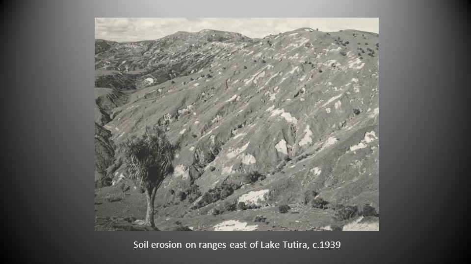 Soil erosion on ranges east of Lake Tutira, c.1939
