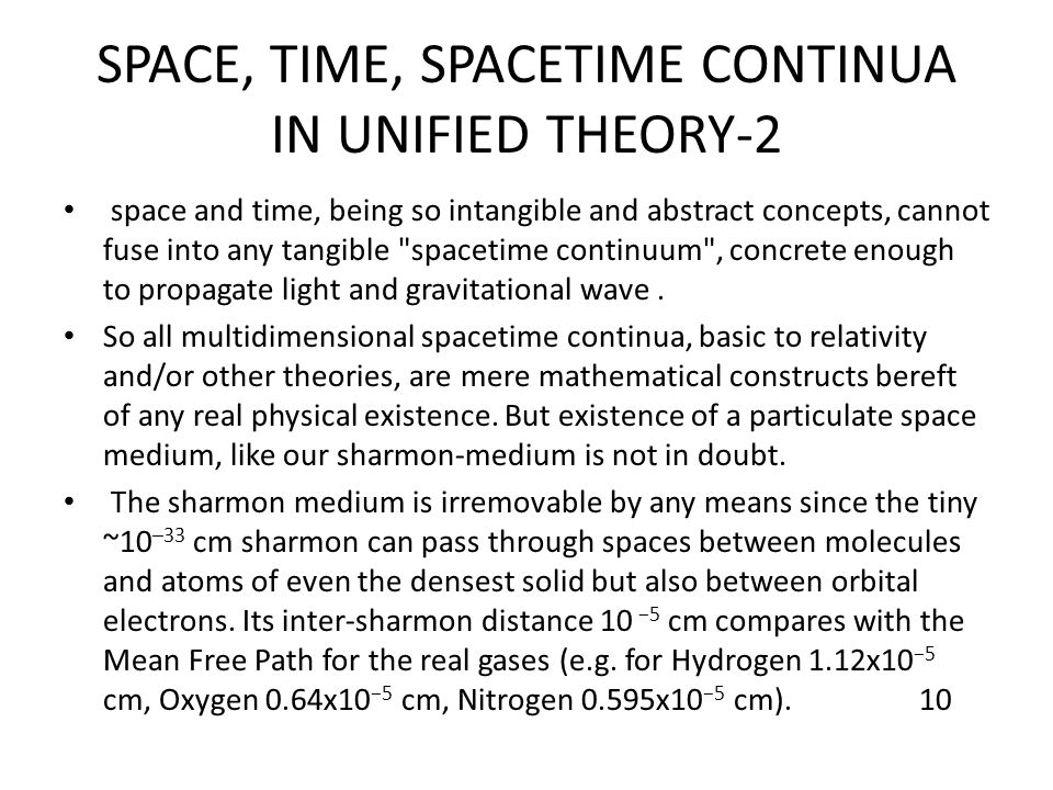 SPACE, TIME, SPACETIME CONTINUA IN UNIFIED THEORY-2 space and time, being so intangible and abstract concepts, cannot fuse into any tangible