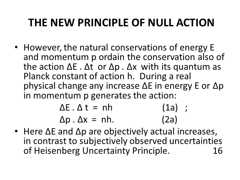 THE NEW PRINCIPLE OF NULL ACTION However, the natural conservations of energy E and momentum p ordain the conservation also of the action ∆E. ∆t or ∆p