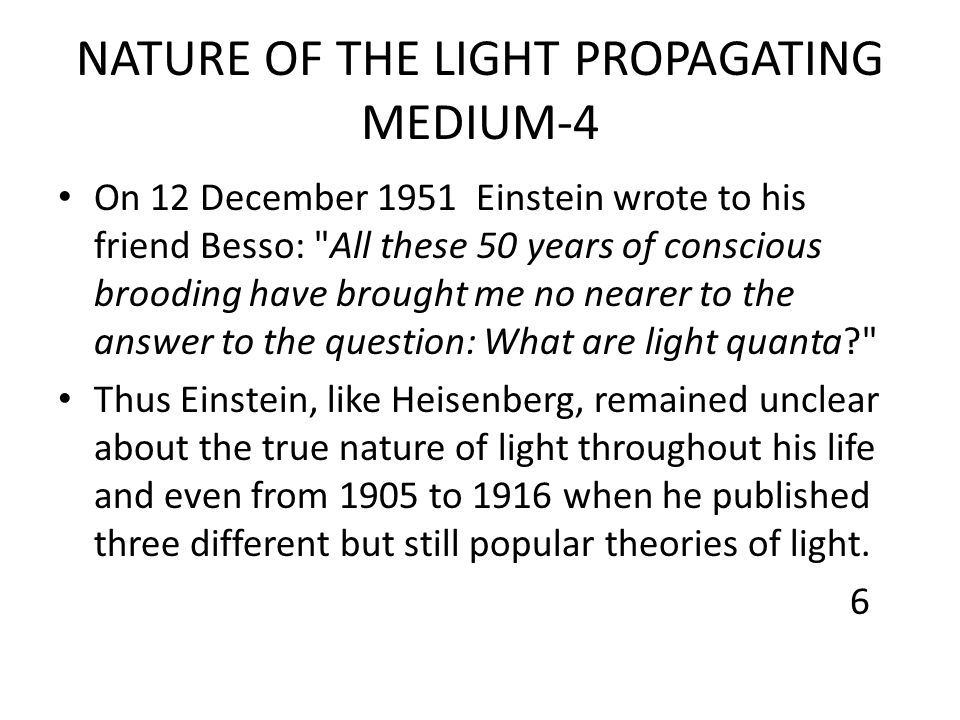 NATURE OF THE LIGHT PROPAGATING MEDIUM-4 On 12 December 1951 Einstein wrote to his friend Besso: