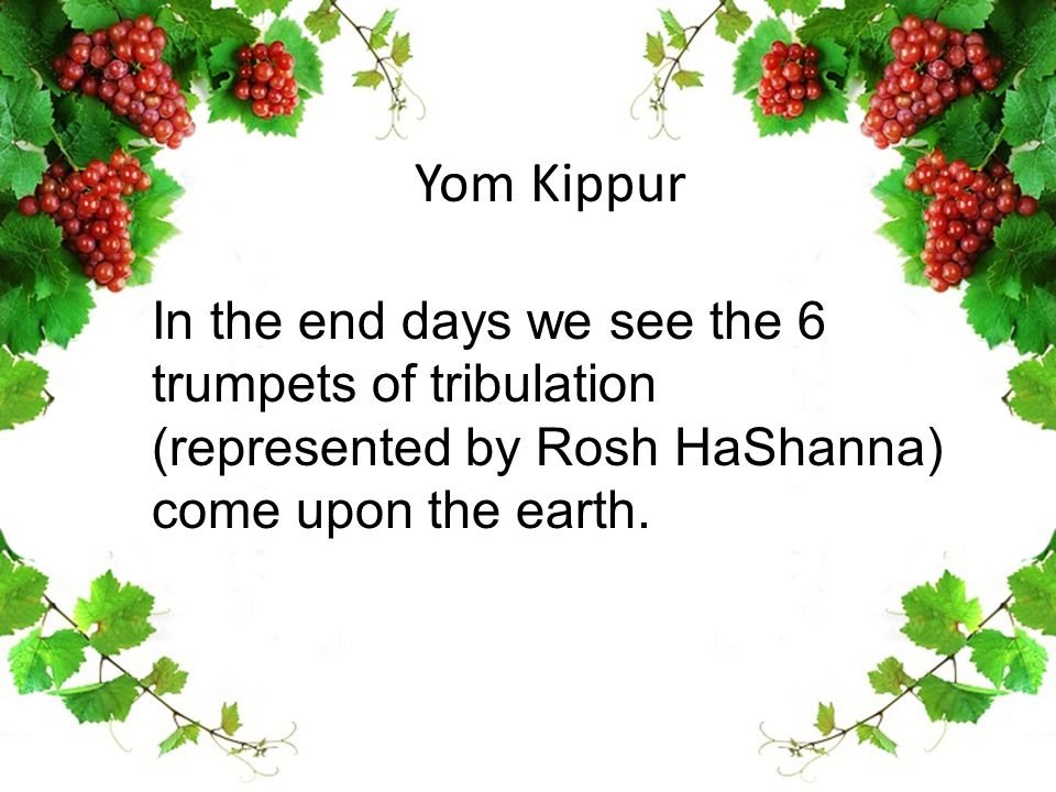 Yom Kippur In the end days we see the 6 trumpets of tribulation (represented by Rosh HaShanna) come upon the earth.