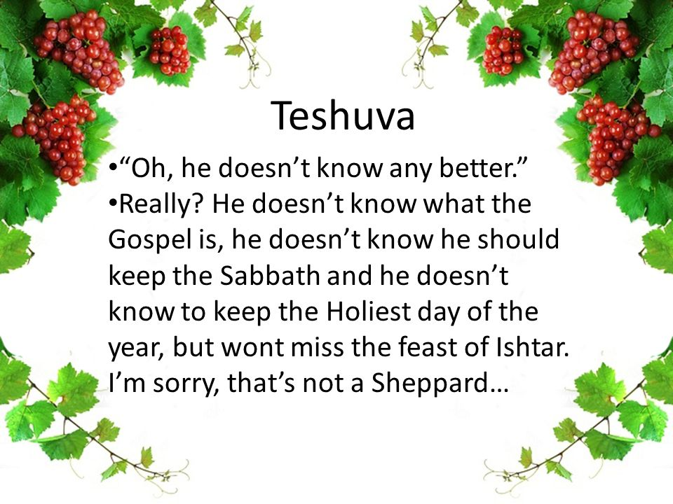"Teshuva ""Oh, he doesn't know any better."" Really? He doesn't know what the Gospel is, he doesn't know he should keep the Sabbath and he doesn't know t"