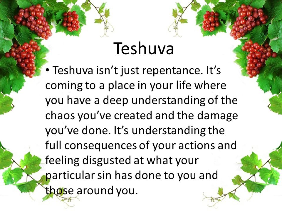 Teshuva Teshuva isn't just repentance. It's coming to a place in your life where you have a deep understanding of the chaos you've created and the dam