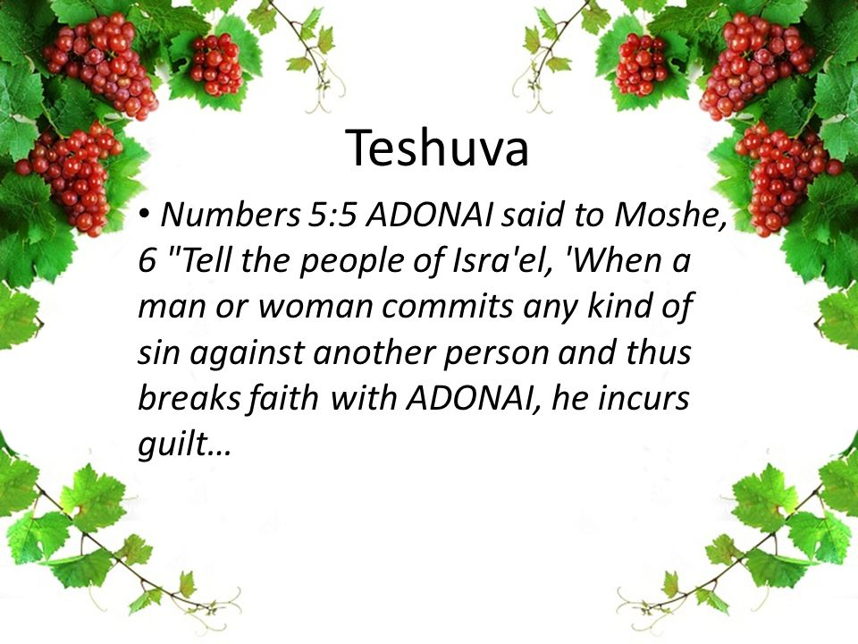 Teshuva Numbers 5:5 ADONAI said to Moshe, 6 Tell the people of Isra el, When a man or woman commits any kind of sin against another person and thus breaks faith with ADONAI, he incurs guilt…