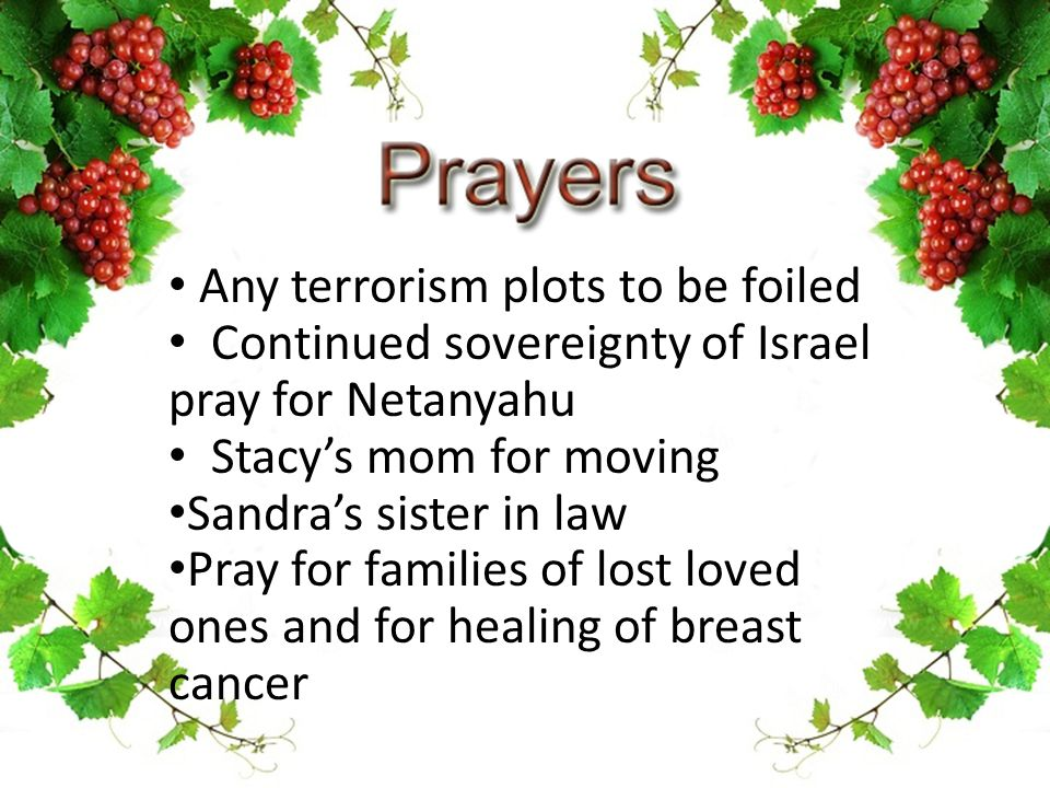 Any terrorism plots to be foiled Continued sovereignty of Israel pray for Netanyahu Stacy's mom for moving Sandra's sister in law Pray for families of lost loved ones and for healing of breast cancer