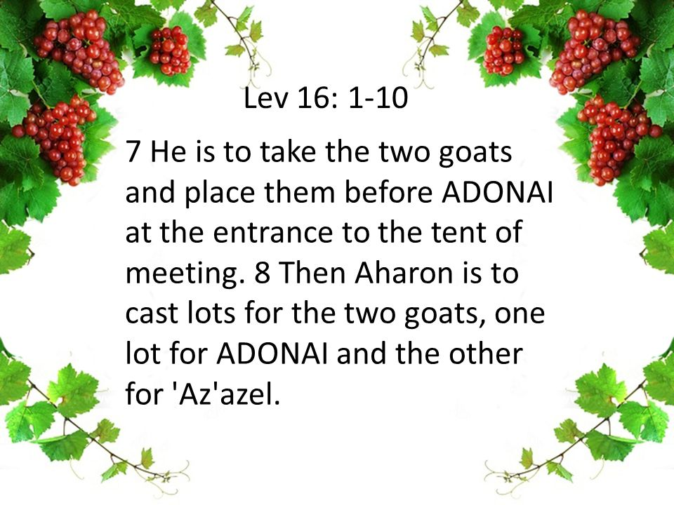 7 He is to take the two goats and place them before ADONAI at the entrance to the tent of meeting.