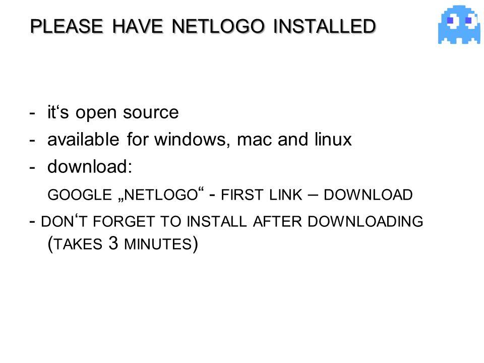 """Wurzer, Lorenz, Popov: """"NetLogo Workshop (Part 1) , in eCAADe 2012 Prague, Slide 1 """"Netlogo First Steps (Artif."""