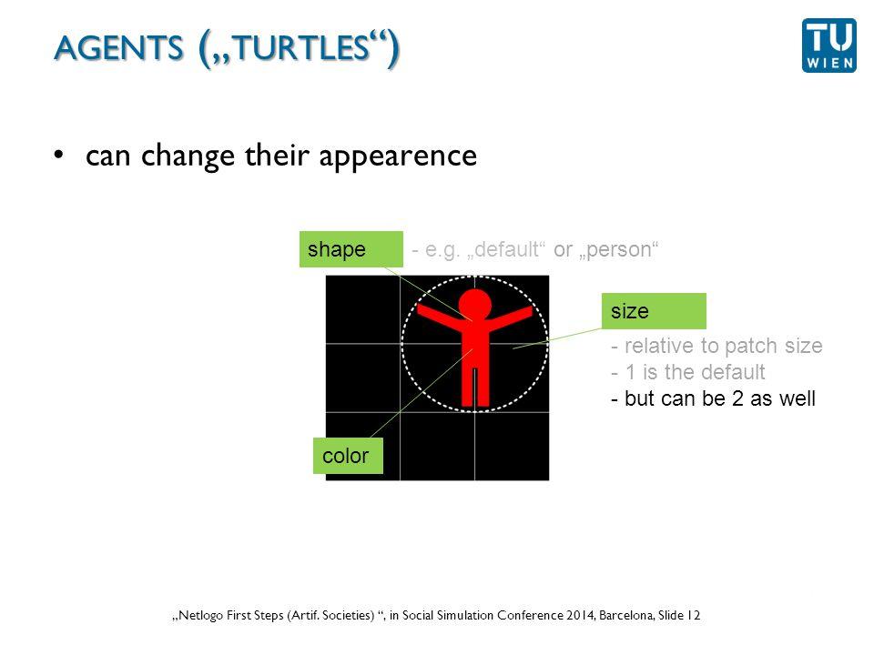 """Wurzer, Lorenz, Popov: """"NetLogo Workshop (Part 1) , in eCAADe 2012 Prague, Slide 12 """"Netlogo First Steps (Artif."""