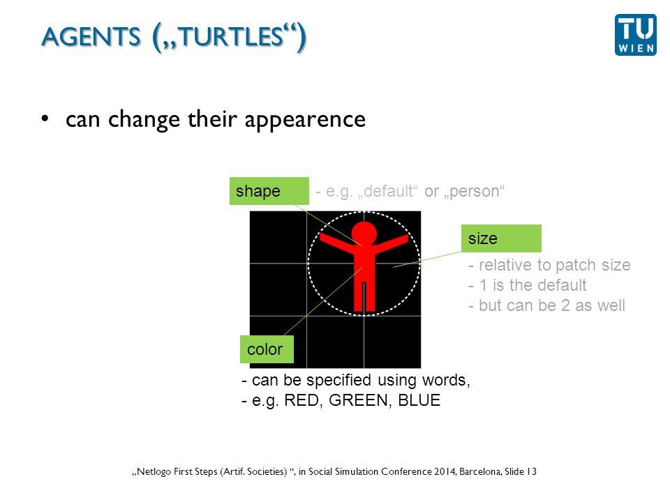 """Wurzer, Lorenz, Popov: """"NetLogo Workshop (Part 1) , in eCAADe 2012 Prague, Slide 13 """"Netlogo First Steps (Artif."""