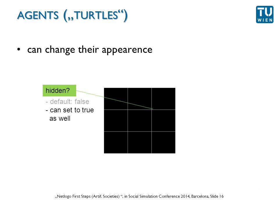 """Wurzer, Lorenz, Popov: """"NetLogo Workshop (Part 1) , in eCAADe 2012 Prague, Slide 16 """"Netlogo First Steps (Artif."""