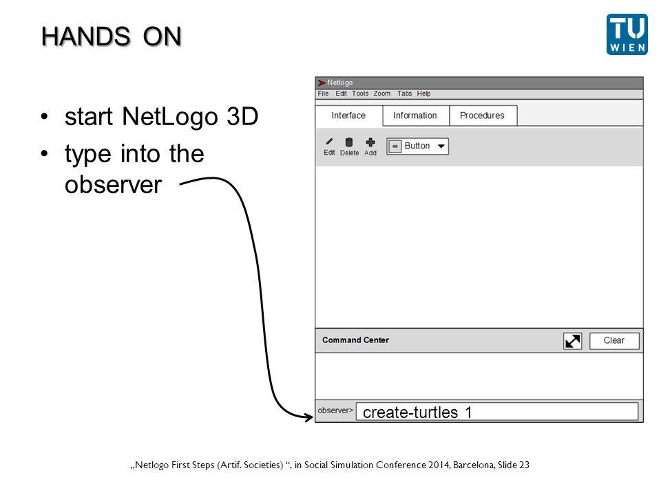 """Wurzer, Lorenz, Popov: """"NetLogo Workshop (Part 1) , in eCAADe 2012 Prague, Slide 23 """"Netlogo First Steps (Artif."""