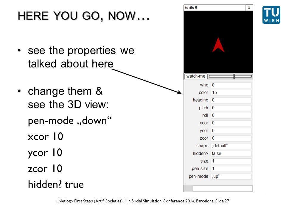 """Wurzer, Lorenz, Popov: """"NetLogo Workshop (Part 1) , in eCAADe 2012 Prague, Slide 27 """"Netlogo First Steps (Artif."""