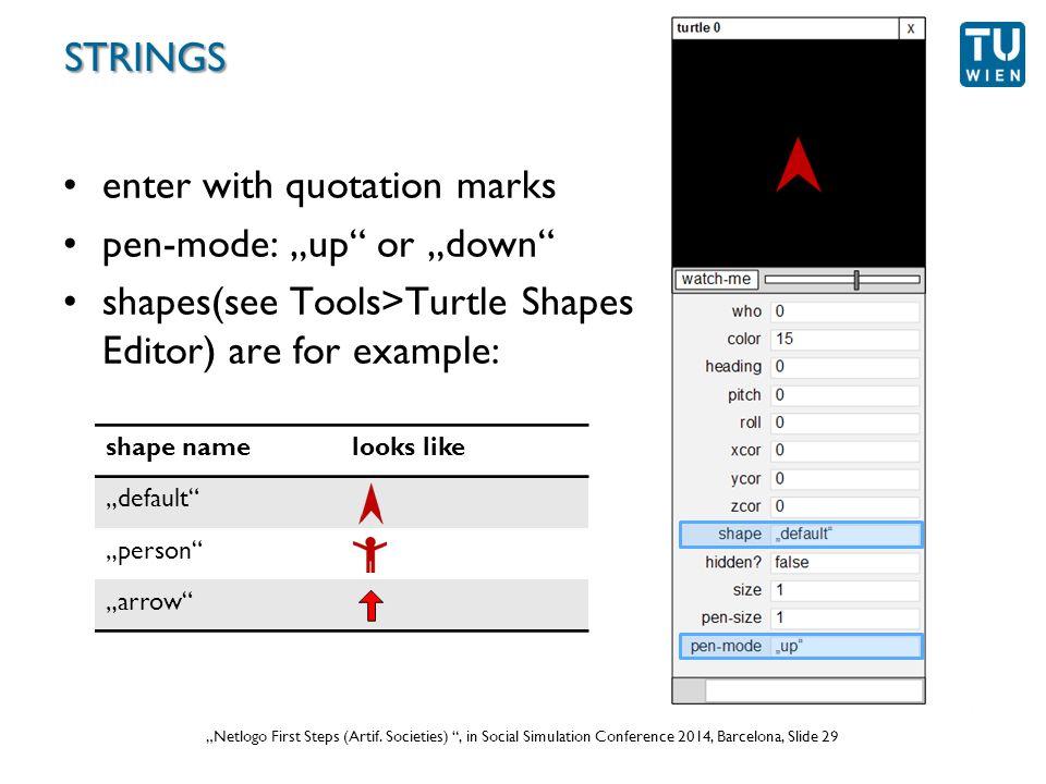 """Wurzer, Lorenz, Popov: """"NetLogo Workshop (Part 1) , in eCAADe 2012 Prague, Slide 29 """"Netlogo First Steps (Artif."""