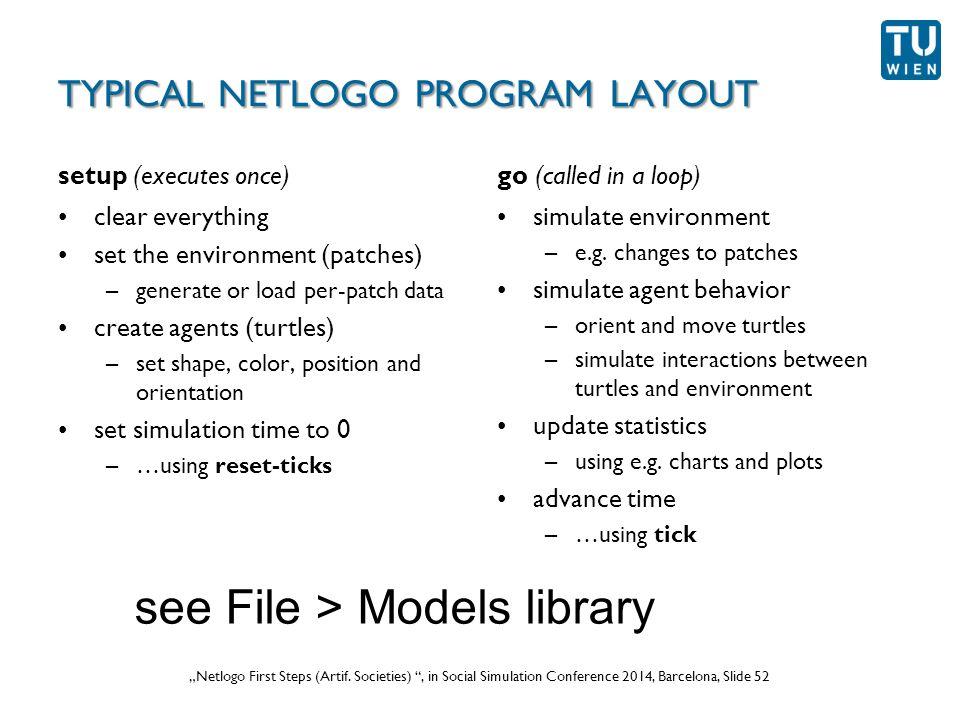 """Wurzer, Lorenz, Popov: """"NetLogo Workshop (Part 1) , in eCAADe 2012 Prague, Slide 52 """"Netlogo First Steps (Artif."""