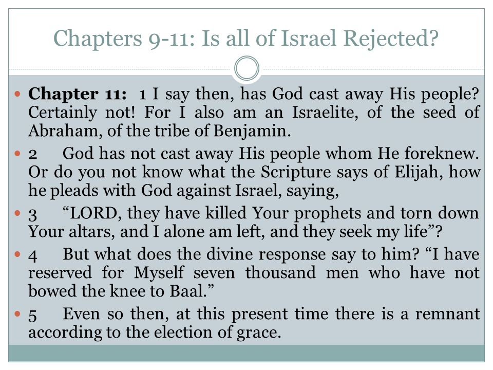 Chapters 9-11: Is all of Israel Rejected. Chapter 11: 1 I say then, has God cast away His people.