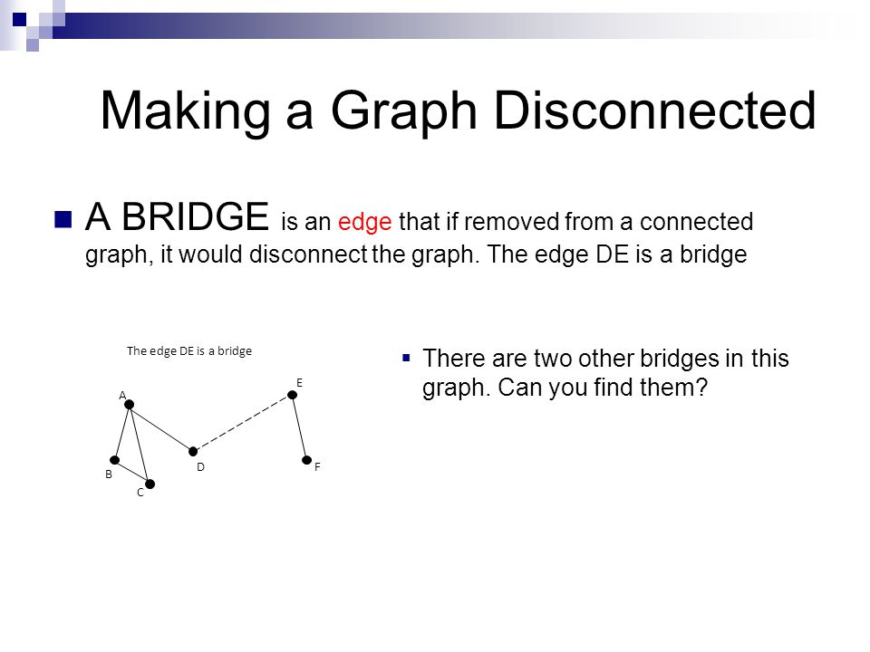 Making a Graph Disconnected A BRIDGE is an edge that if removed from a connected graph, it would disconnect the graph. The edge DE is a bridge  There