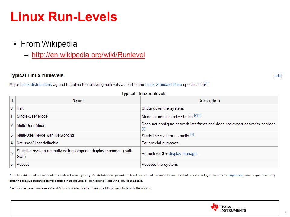 8 Linux Run-Levels From Wikipedia –http://en.wikipedia.org/wiki/Runlevelhttp://en.wikipedia.org/wiki/Runlevel