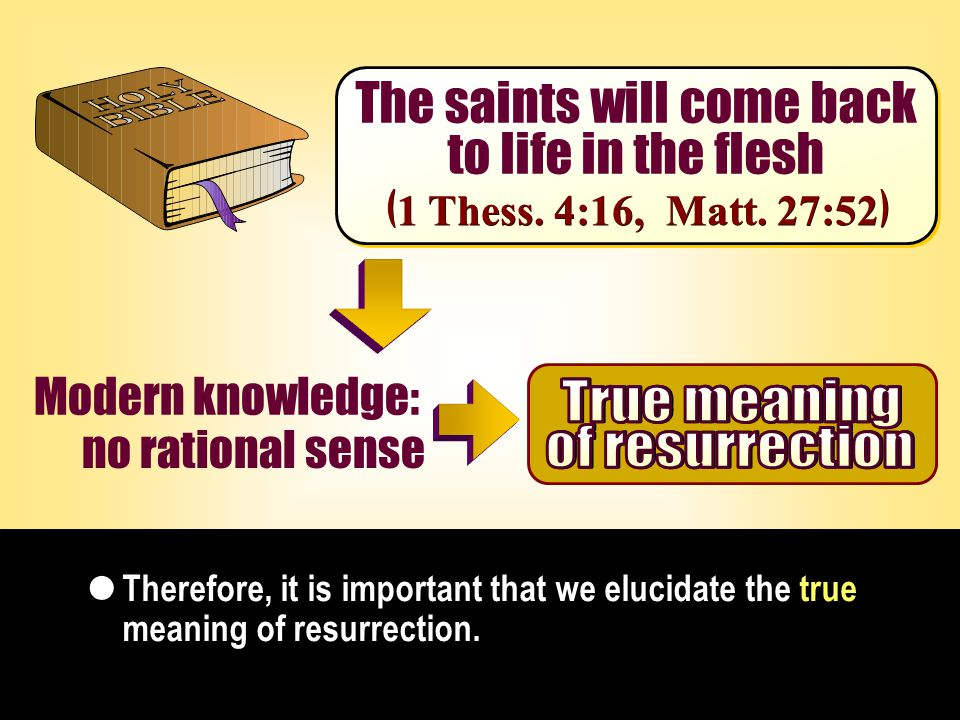The saints will come back to life in the flesh The saints will come back to life in the flesh Therefore, it is important that we elucidate the true meaning of resurrection.