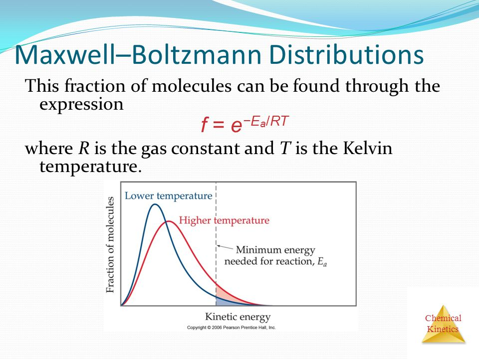 Chemical Kinetics Maxwell–Boltzmann Distributions This fraction of molecules can be found through the expression where R is the gas constant and T is
