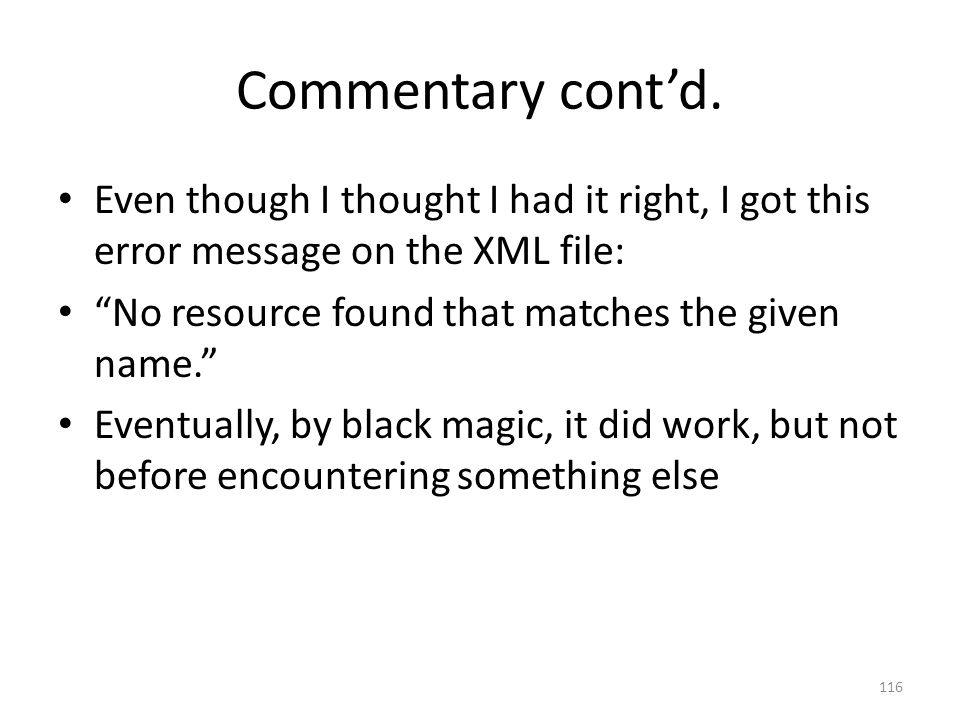 Commentary cont'd.