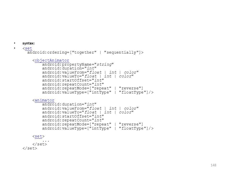 syntax:... setobjectAnimatoranimatorset 148