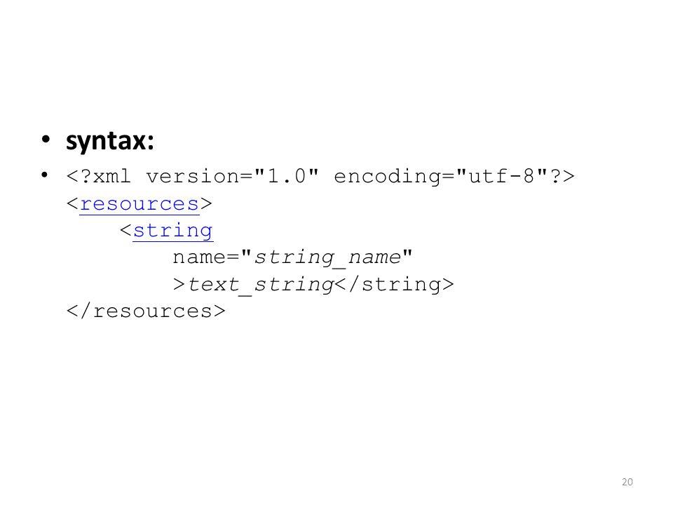 syntax: text_string resourcesstring 20
