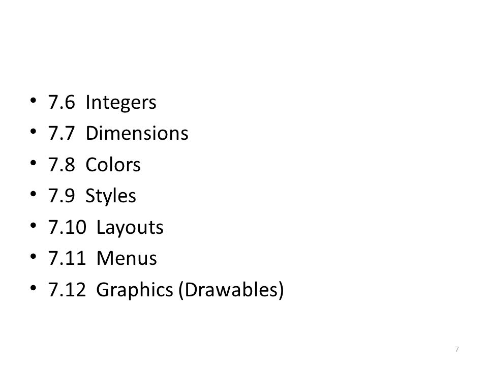 7.8 Colors Color A color value defined in XML.
