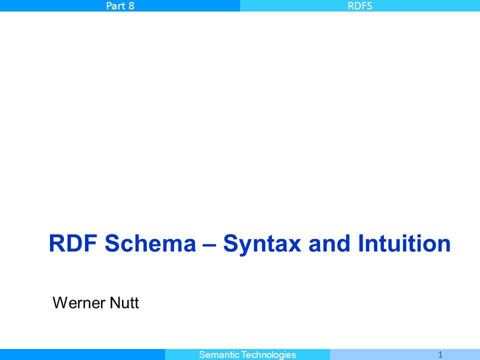 Master Informatique 1 Semantic Technologies Part 8RDFS RDF Schema – Syntax and Intuition Werner Nutt