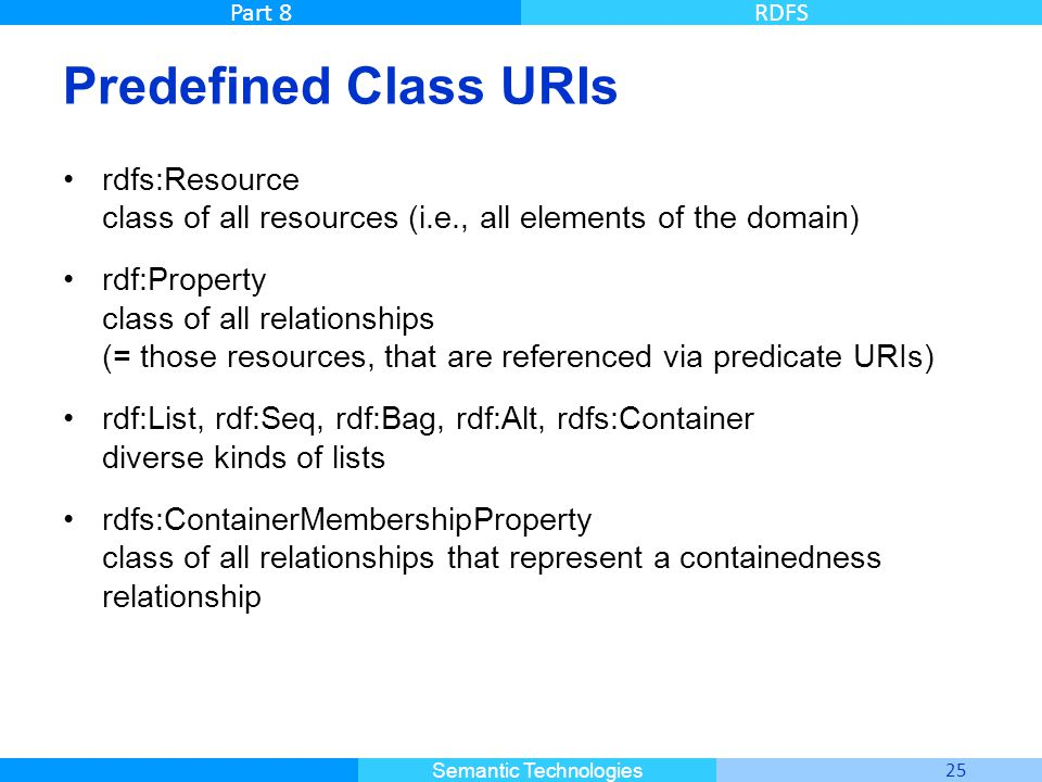 Master Informatique 25 Semantic Technologies Part 8RDFS Predefined Class URIs rdfs:Resource class of all resources (i.e., all elements of the domain)