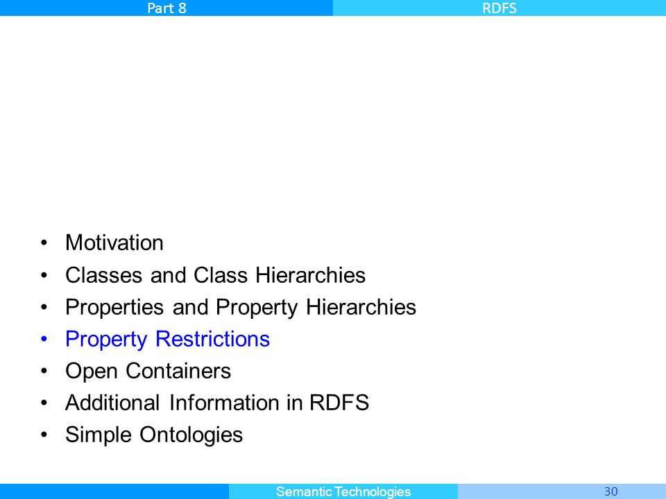 Master Informatique 30 Semantic Technologies Part 8RDFS Motivation Classes and Class Hierarchies Properties and Property Hierarchies Property Restrict