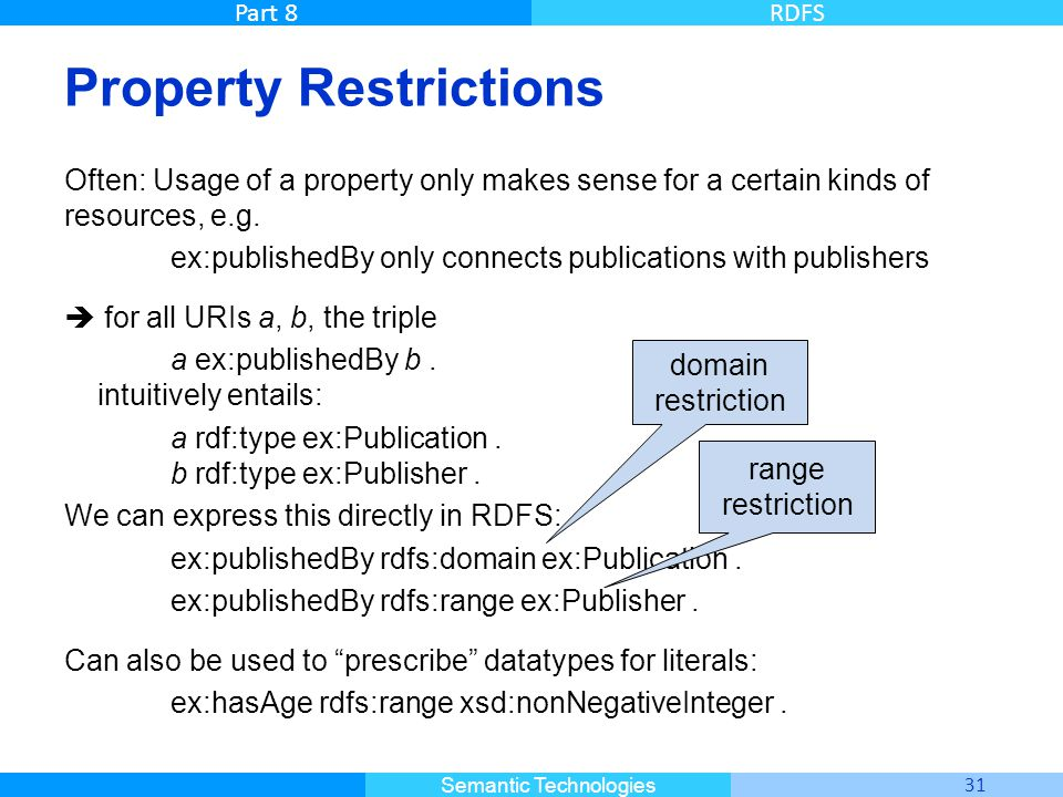 Master Informatique 31 Semantic Technologies Part 8RDFS Property Restrictions Often: Usage of a property only makes sense for a certain kinds of resou