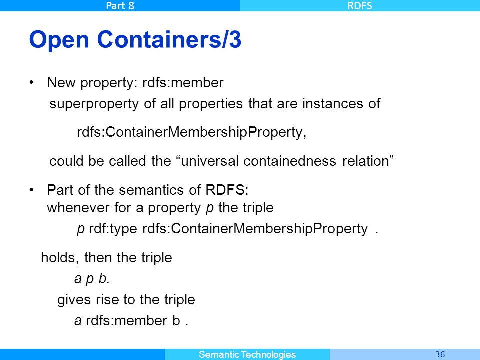 Master Informatique 36 Semantic Technologies Part 8RDFS Open Containers/3 New property: rdfs:member superproperty of all properties that are instances