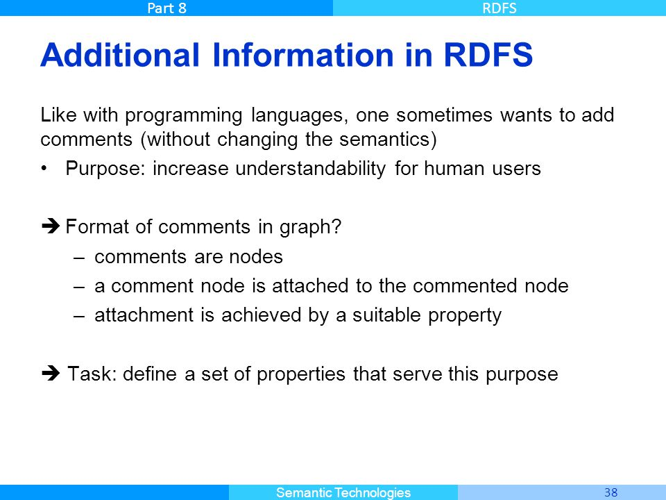 Master Informatique 38 Semantic Technologies Part 8RDFS Additional Information in RDFS Like with programming languages, one sometimes wants to add com