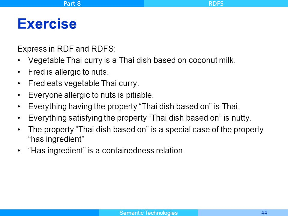 Master Informatique 44 Semantic Technologies Part 8RDFS Exercise Express in RDF and RDFS: Vegetable Thai curry is a Thai dish based on coconut milk. F