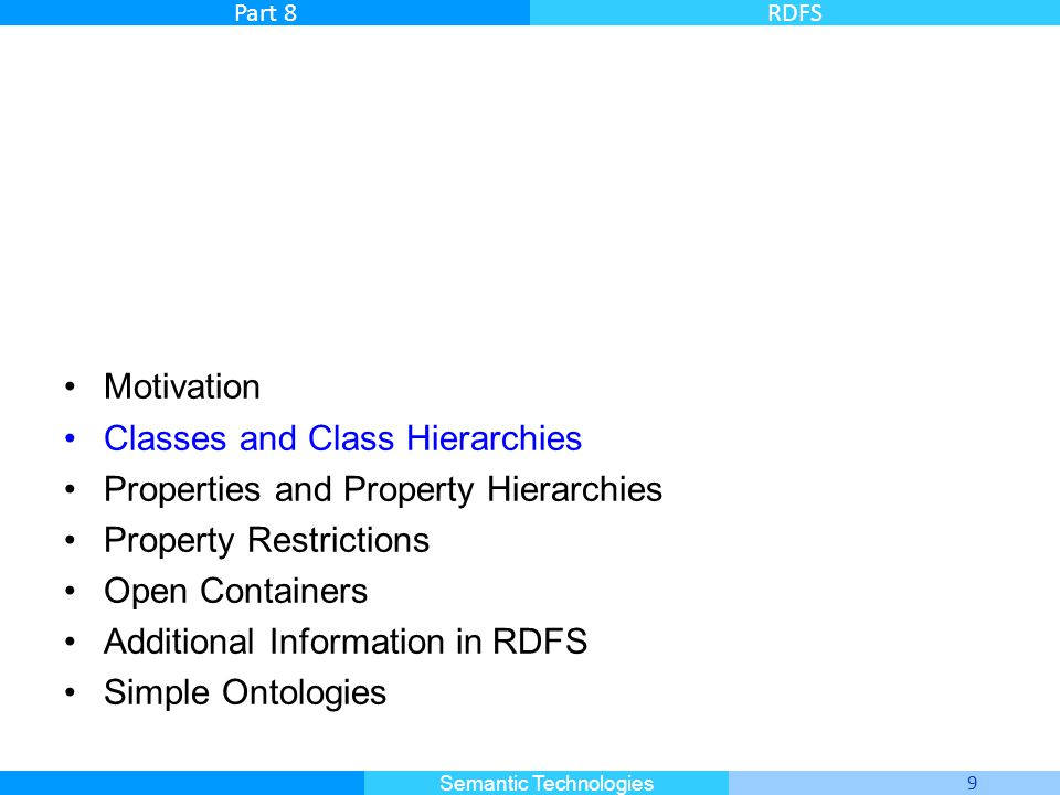 Master Informatique 9 Semantic Technologies Part 8RDFS Motivation Classes and Class Hierarchies Properties and Property Hierarchies Property Restricti