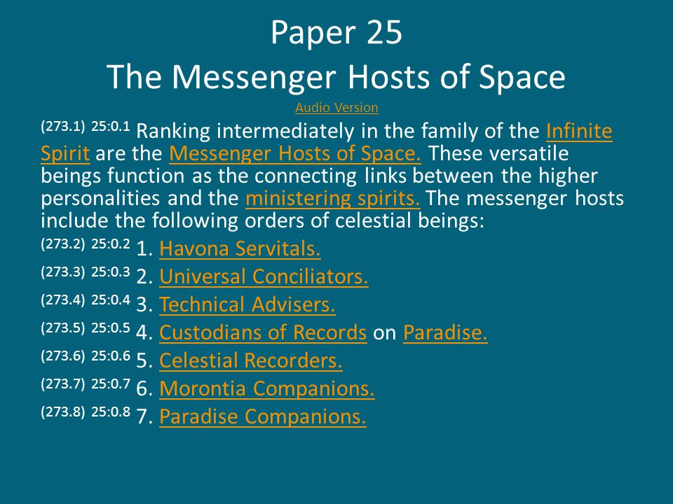 (275.3) 25:2.3 Conciliators of pre-Paradise status do not serve interchangeably between superuniverses, being restricted to their native segments of creation.