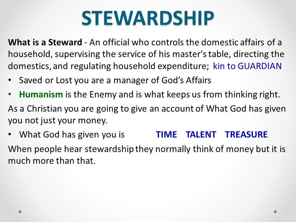 STEWARDSHIP What is a Steward - An official who controls the domestic affairs of a household, supervising the service of his master's table, directing