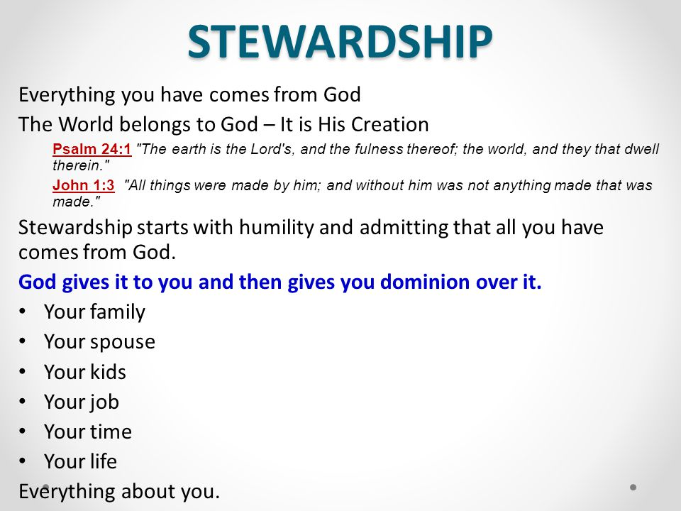 STEWARDSHIP The storehouse is the local New Testament church 1 Corinthians 16:2 ‑ Upon the first day of the week let every one of you lay by him in store, as God hath prospered him, that there be no gatherings when I come.