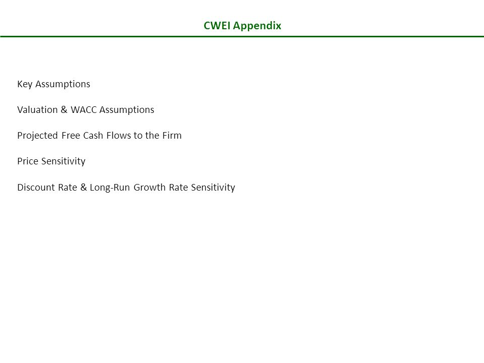 CWEI Appendix Key Assumptions Valuation & WACC Assumptions Projected Free Cash Flows to the Firm Price Sensitivity Discount Rate & Long-Run Growth Rate Sensitivity
