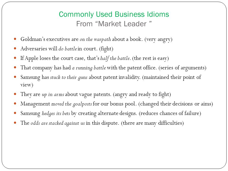 Commonly Used Business Idioms From Market Leader Goldman's executives are on the warpath about a book.