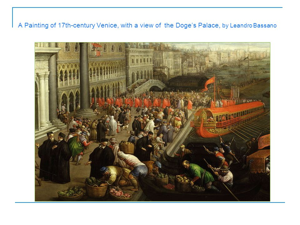 A Painting of 17th-century Venice, with a view of the Doge's Palace, by Leandro Bassano