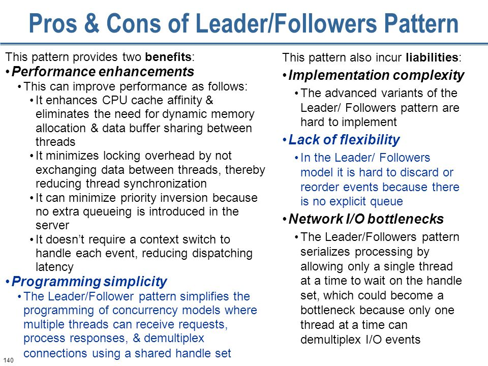 140 Pros & Cons of Leader/Followers Pattern This pattern provides two benefits: Performance enhancements This can improve performance as follows: It enhances CPU cache affinity & eliminates the need for dynamic memory allocation & data buffer sharing between threads It minimizes locking overhead by not exchanging data between threads, thereby reducing thread synchronization It can minimize priority inversion because no extra queueing is introduced in the server It doesn't require a context switch to handle each event, reducing dispatching latency Programming simplicity The Leader/Follower pattern simplifies the programming of concurrency models where multiple threads can receive requests, process responses, & demultiplex connections using a shared handle set This pattern also incur liabilities: Implementation complexity The advanced variants of the Leader/ Followers pattern are hard to implement Lack of flexibility In the Leader/ Followers model it is hard to discard or reorder events because there is no explicit queue Network I/O bottlenecks The Leader/Followers pattern serializes processing by allowing only a single thread at a time to wait on the handle set, which could become a bottleneck because only one thread at a time can demultiplex I/O events